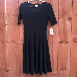 LulaRoe solid black Nicole dress short sleeves